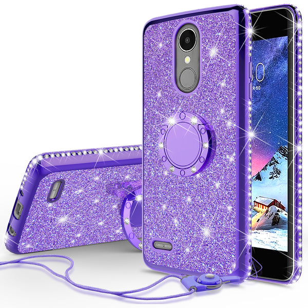 lg k20 plus, k20 v, harmony, k10 2017 glitter bling fashion case - purple - www.coverlabusa.com