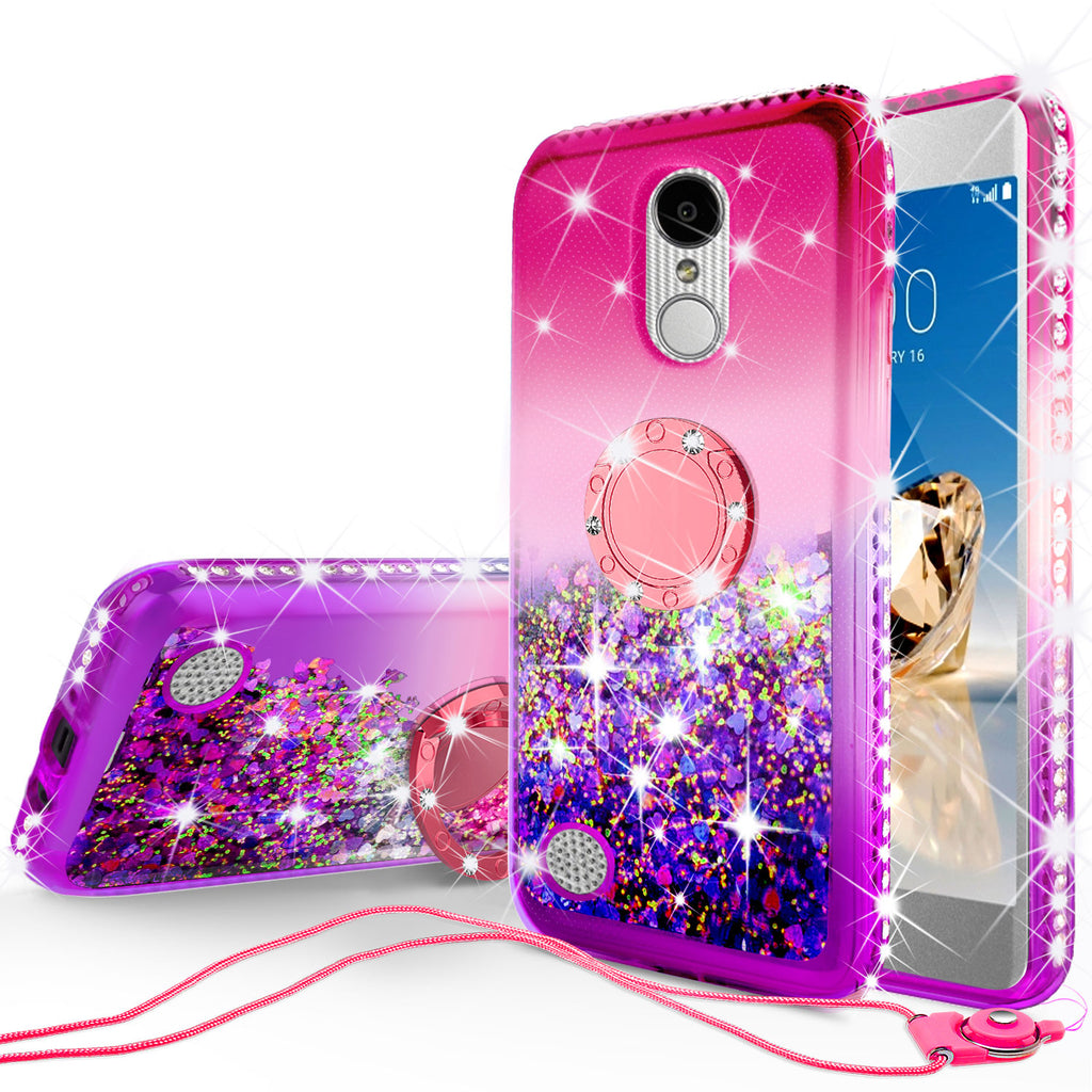 sale retailer f7975 d88d0 Glitter Phone Case Kickstand Compatible for LG Aristo , Phoenix 3 Case,Ring  Stand Liquid Floating Quicksand Bling Sparkle Protective Girls Women for ...