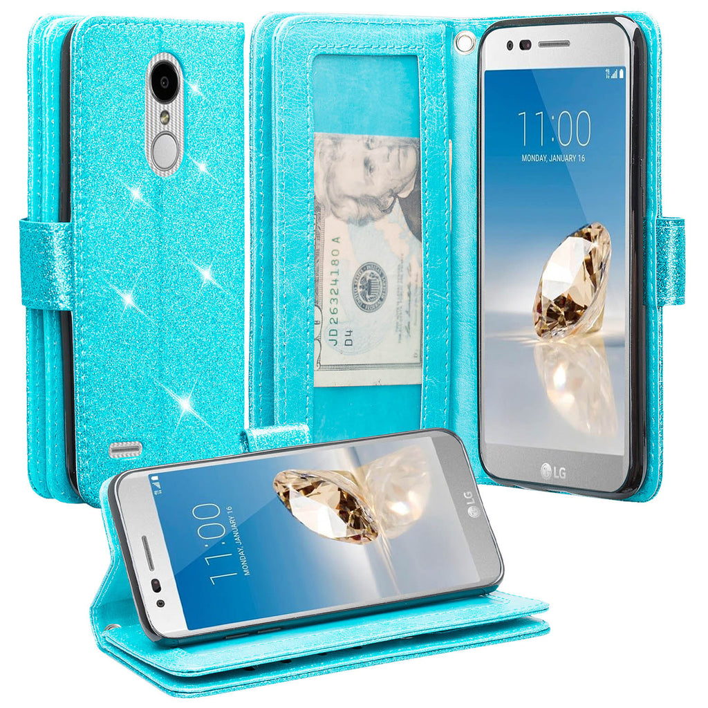 LG Aristo 2 Plus Case, Aristo 2, LG Tribute Dynasty, Rebel 3, Zone 4,  [Wrist Strap] Glitter Faux Leather Flip [Kickstand] Wallet Case Wristlet -  Teal