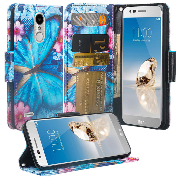 LG Aristo 2 Wallet Case - Blue Butterfly - www.coverlabusa.com