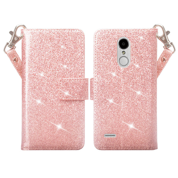 LG Aristo 2 Glitter Wallet Case - Rose Gold - www.coverlabusa.com