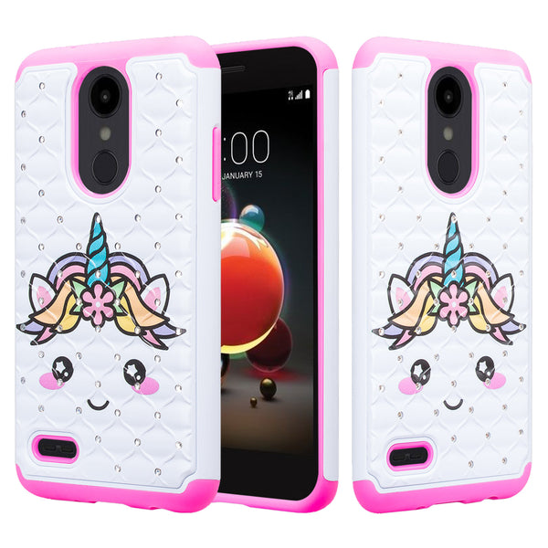 lg aristo 2 case crystal rhinestone - white unicorn - www.coverlabusa.com