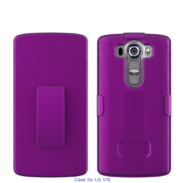 LG V10 Case, Rugged Rotating Belt Clip Slim Holster Shell Combo Case for LG V10 - Purple