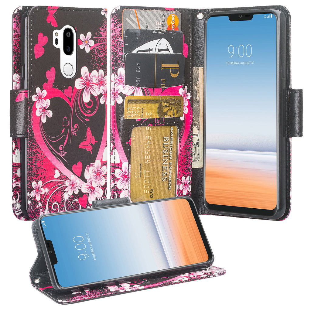 LG G7 ThinQ Case, LM-G710, G7+ ThinQ Wallet Case, Wrist Strap Pu Leather  Wallet Case [Kickstand] with ID & Credit Card Slots - Heart Butterfies