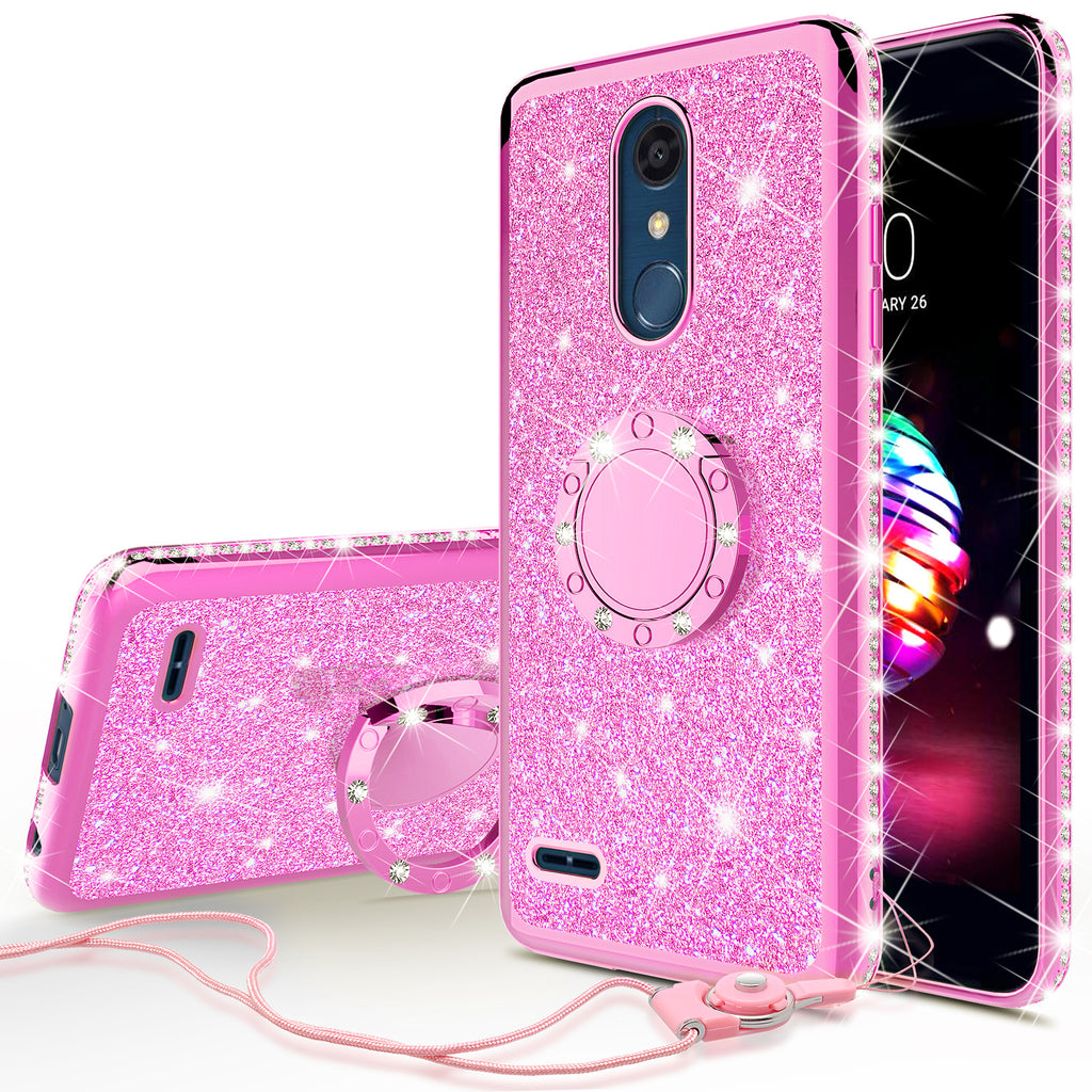 Lg Stylo 4 Case Stylo 4 Plus Q Stylus Glitter Cute Phone Case Girls Bling Diamond Rhinestone Ring Stand Luxury Clear Thin Soft Protective Cover For