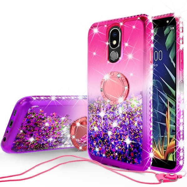 glitter ring phone case for lg k40 - hot pink gradient - www.coverlabusa.com