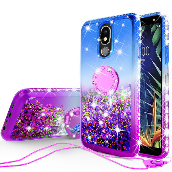glitter ring phone case for lg k40 - blue gradient - www.coverlabusa.com