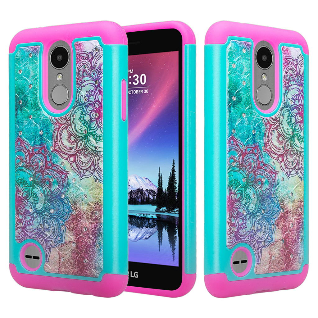 best cheap 74496 508a7 LG Aristo, LG Phoenix 3, LG Fortune, K4 2017, K8 2017, LG Risio, Slim  Hybrid [Shock Resistant] Crystal Rhinestone Dual Layer Protective Case  Cover - ...