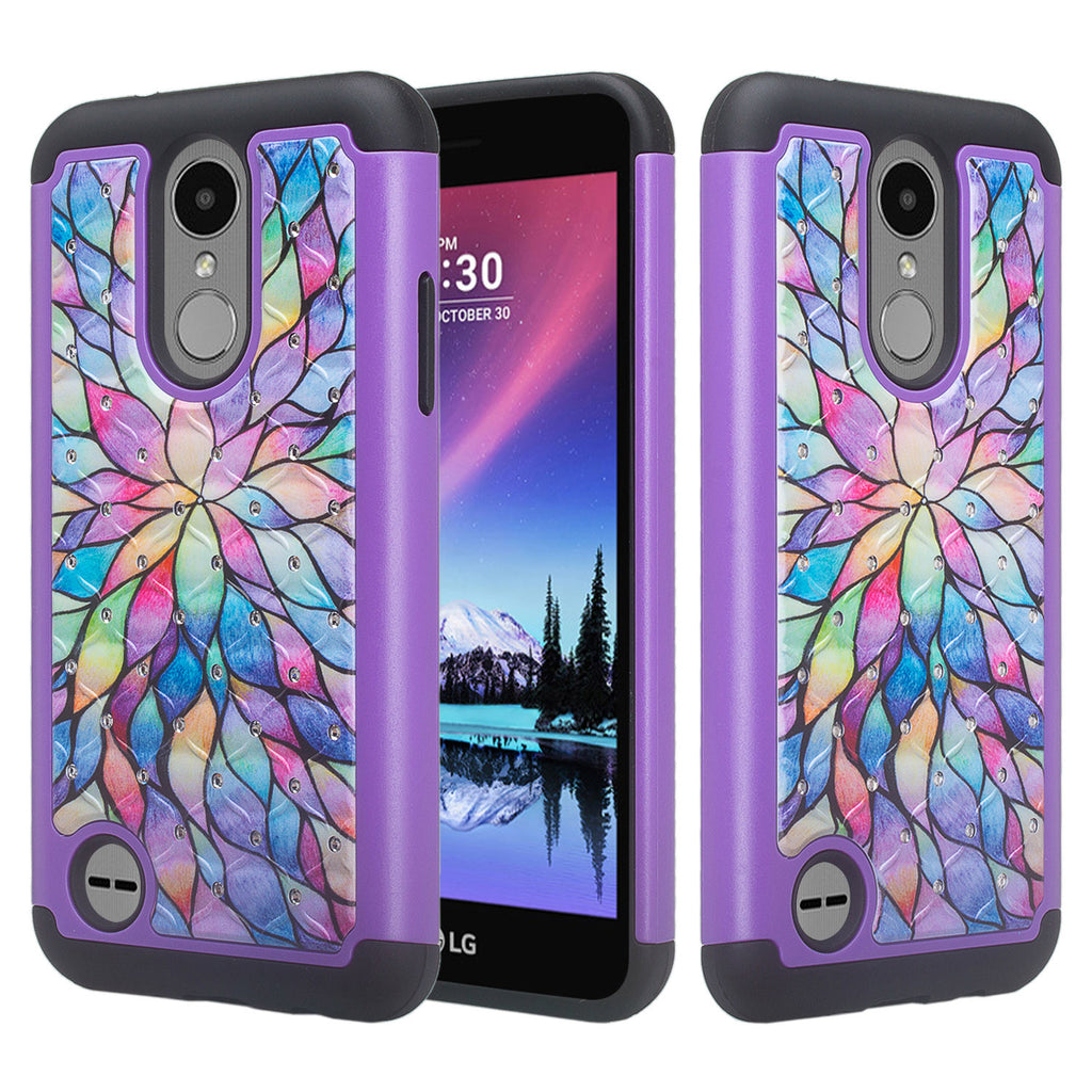 LG Aristo, LG Phoenix 3, LG Fortune, K4 2017, K8 2017, LG Risio, Slim  Hybrid [Shock Resistant] Crystal Rhinestone Dual Layer Protective Case  Cover -