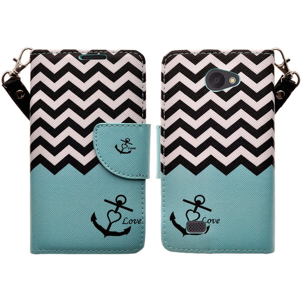 LG Lancet Wallet Case [Card Slots + Money Pocket + Kickstand] and Strap - Teal Anchor