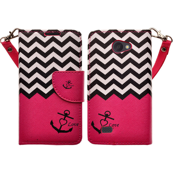 LG Lancet Wallet Case [Card Slots + Money Pocket + Kickstand] and Strap - Hot Pink Anchor