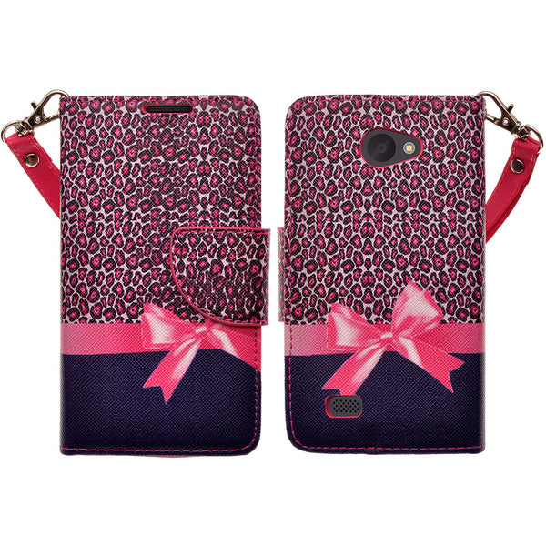 LG Lancet Wallet Case [Card Slots + Money Pocket + Kickstand] and Strap - Cheetah Prints