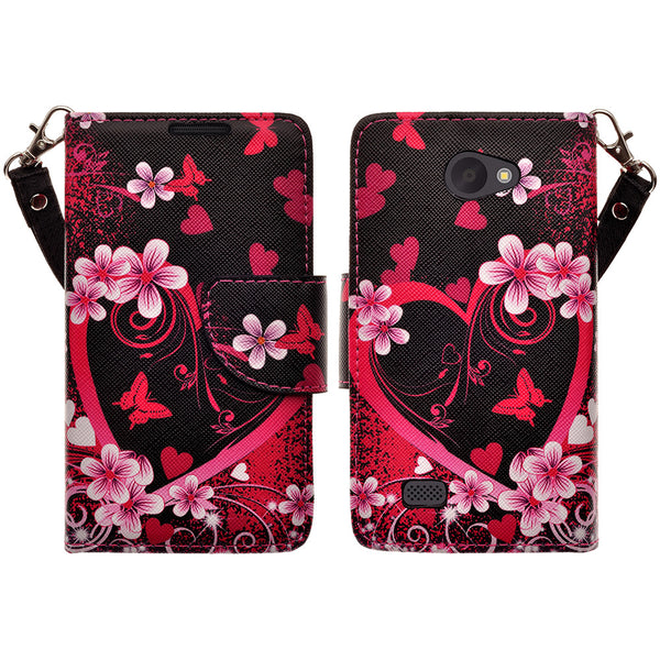 LG Lancet Wallet Case [Card Slots + Money Pocket + Kickstand] and Strap - Heart Butterflies