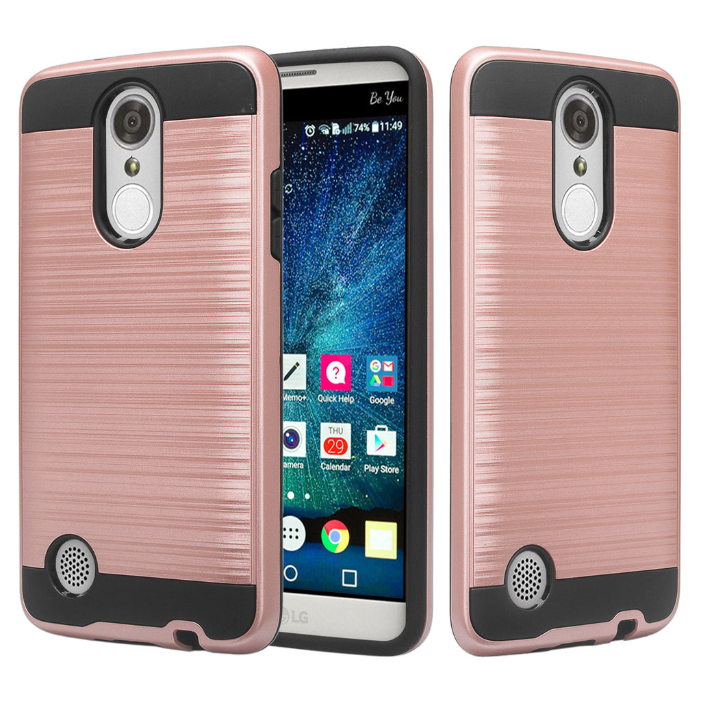 LG Aristo 2 Plus Case, Aristo 2, LG Tribute Dynasty, Rebel 3, Zone 4, Slim  Hybrid EZ Grip Dual Layer[Shock Resistant] Metallic Brush Armor Case - Rose