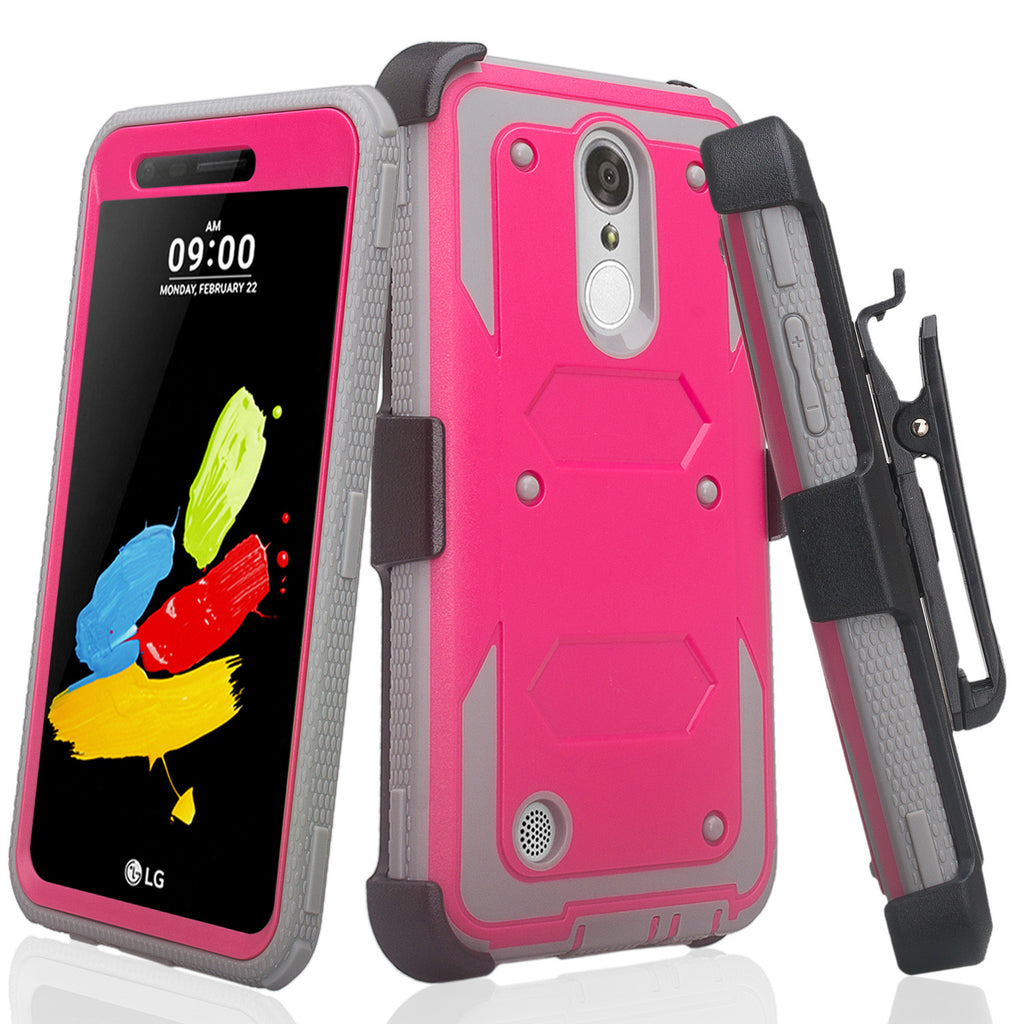 size 40 ab02e 2bfc0 LG Aristo Case, K4 2017, K8 2017, Risio 2, Phoenix 3, Fortune, Triple  Protection 3-1 w/ Built in Screen Protector Heavy Duty Holster Shell Combo  Case ...