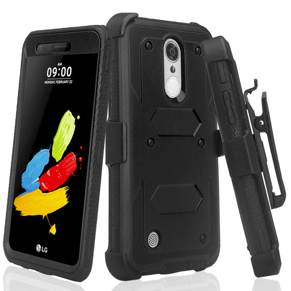 LG ARISTO holster case with screen protector - black - www.coverlabusa.com