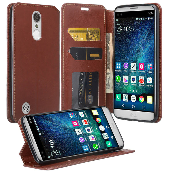 LG K4 (2017) | Fortune | Phoenix 3 | LV1 | M150 leather wallet case - brown - www.coverlabusa.com