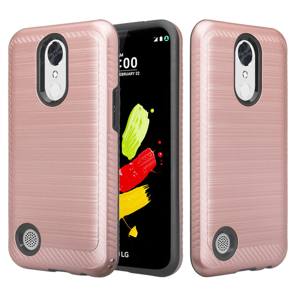 LG K20 plus, K20 V hybrid case - brush rose gold - www.coverlabusa.com