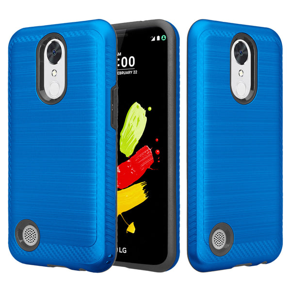 lg k20 plus hybrid case - brush blue - www.coverlabusa.com