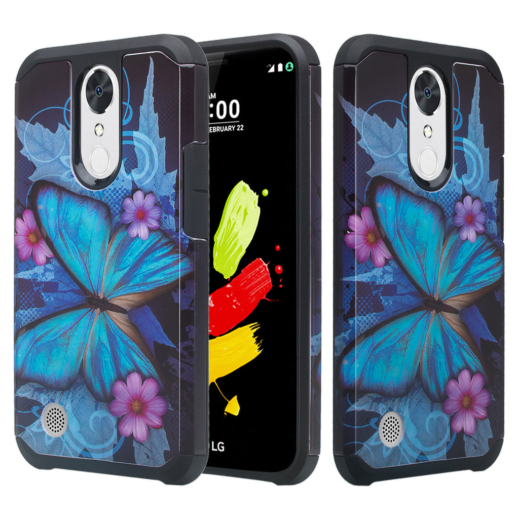 LG K20 Plus Case, V Slim Hybrid Dual Layer - blue butterfly V, K10 2017 [Shock