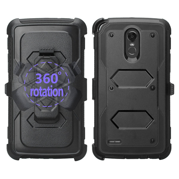 lg stylo 3 holster case with screen protector - black - www.coverlabusa.com