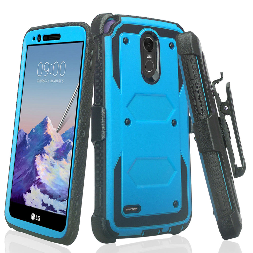 reputable site 2dc65 8c3b4 LG Stylo 3 Case, LG Stylo 3 Plus Case, Triple Protection 3-1 w/ Built in  Screen Protector Heavy Duty Holster Shell Combo Case for LG Stylo 3 - Blue