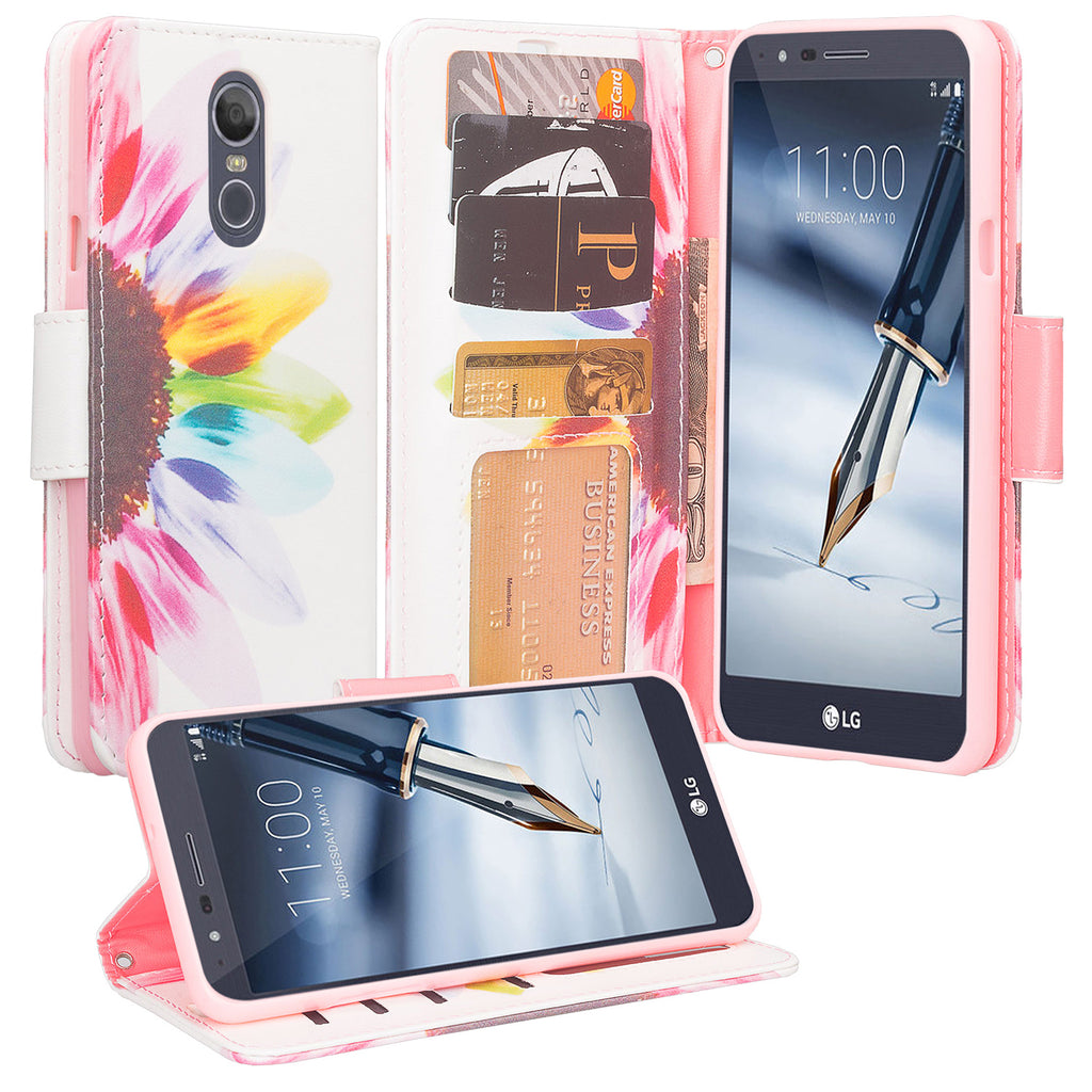 LG Stylo 4 Case, Stylo 4 Plus, Q Stylus Wallet Case, Wrist Strap Pu Leather  Wallet Case [Kickstand] with ID & Credit Card Slots - Vivid Sunflower