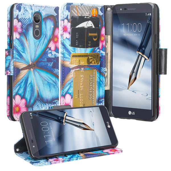 LG K40 Wallet Case - blue butterfly - www.coverlabusa.com