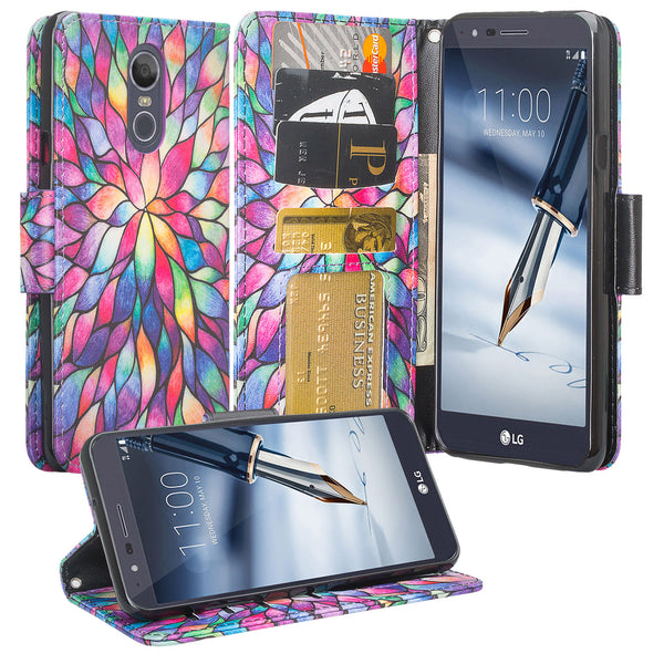 LG K40 Wallet Case - rainbow flower - www.coverlabusa.com