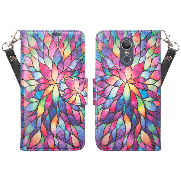 lg aristo 4 plus wallet case - rainbow flower - www.coverlabusa.com
