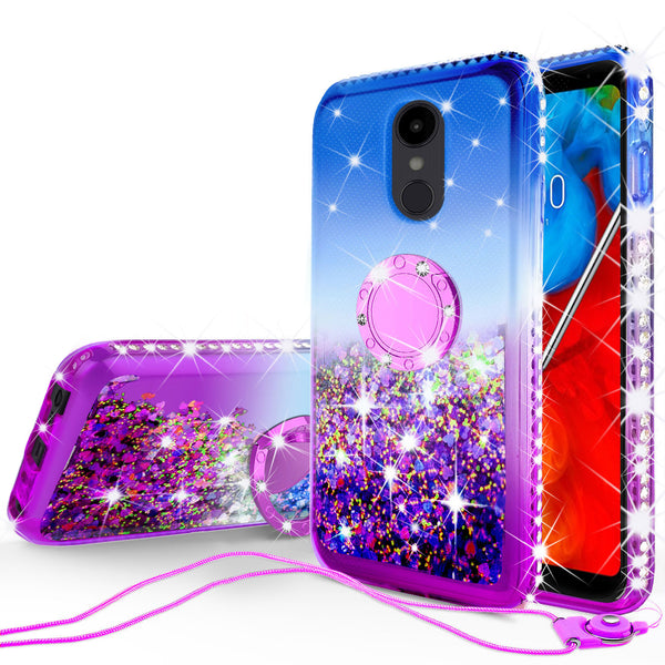 glitter ring phone case for lg stylo 4 - blue gradient - www.coverlabusa.com