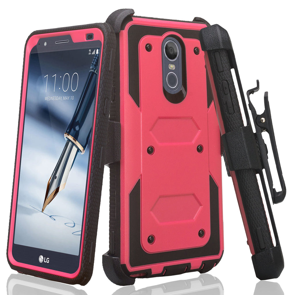 LG Stylo 4 Case, Stylo 4 Plus, Q Stylus Triple Protection 3-1 w/ Built in  Screen Protector Heavy Duty Holster Shell Combo Case - Hot Pink