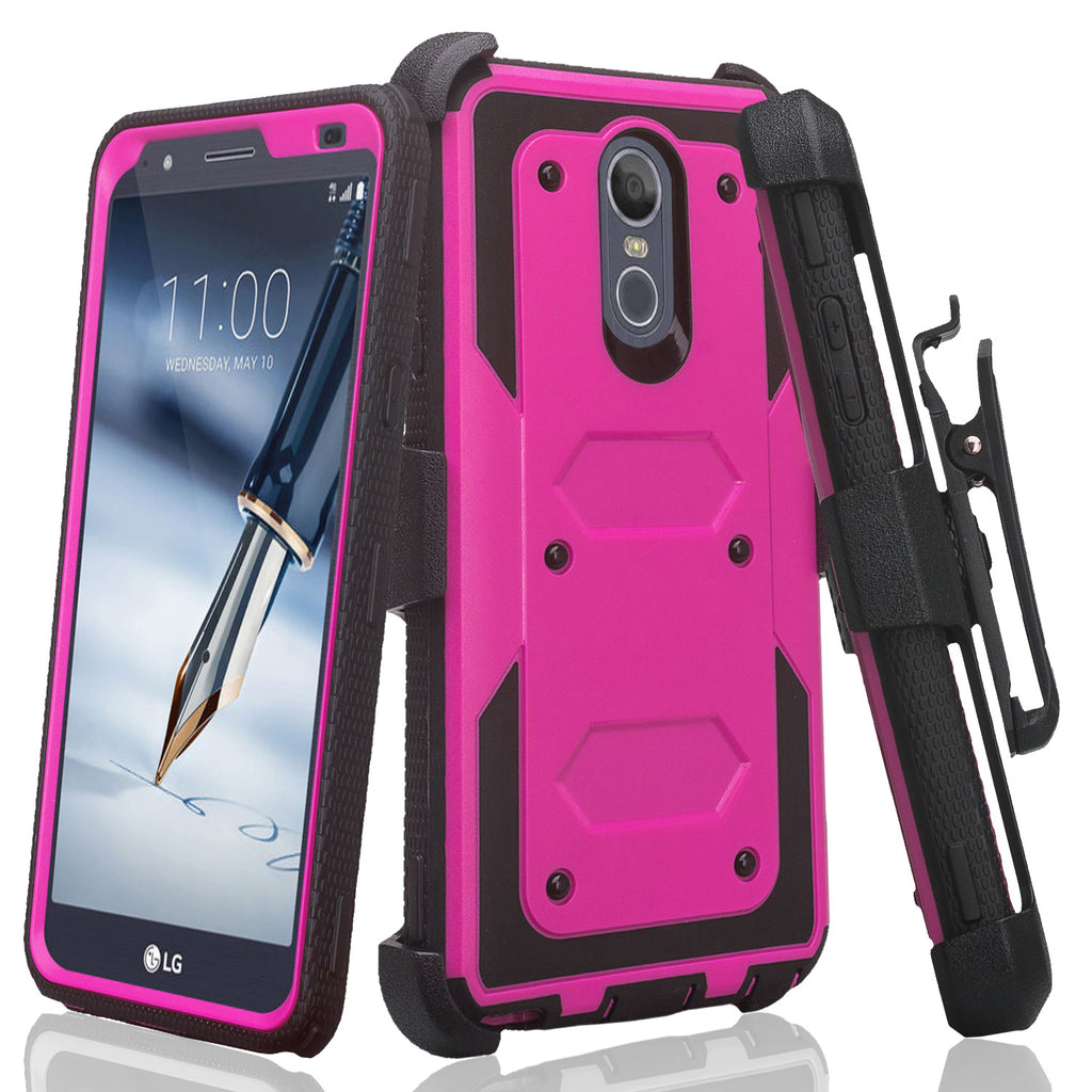 competitive price 1de0f c7320 LG Stylo 4 Case, Stylo 4 Plus, Q Stylus, Triple Protection 3-1 w/ Built in  Screen Protector Heavy Duty Holster Shell Combo Case - Purple