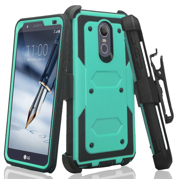 lg stylo 5 heavy duty holster case - teal - www.coverlabusa.com