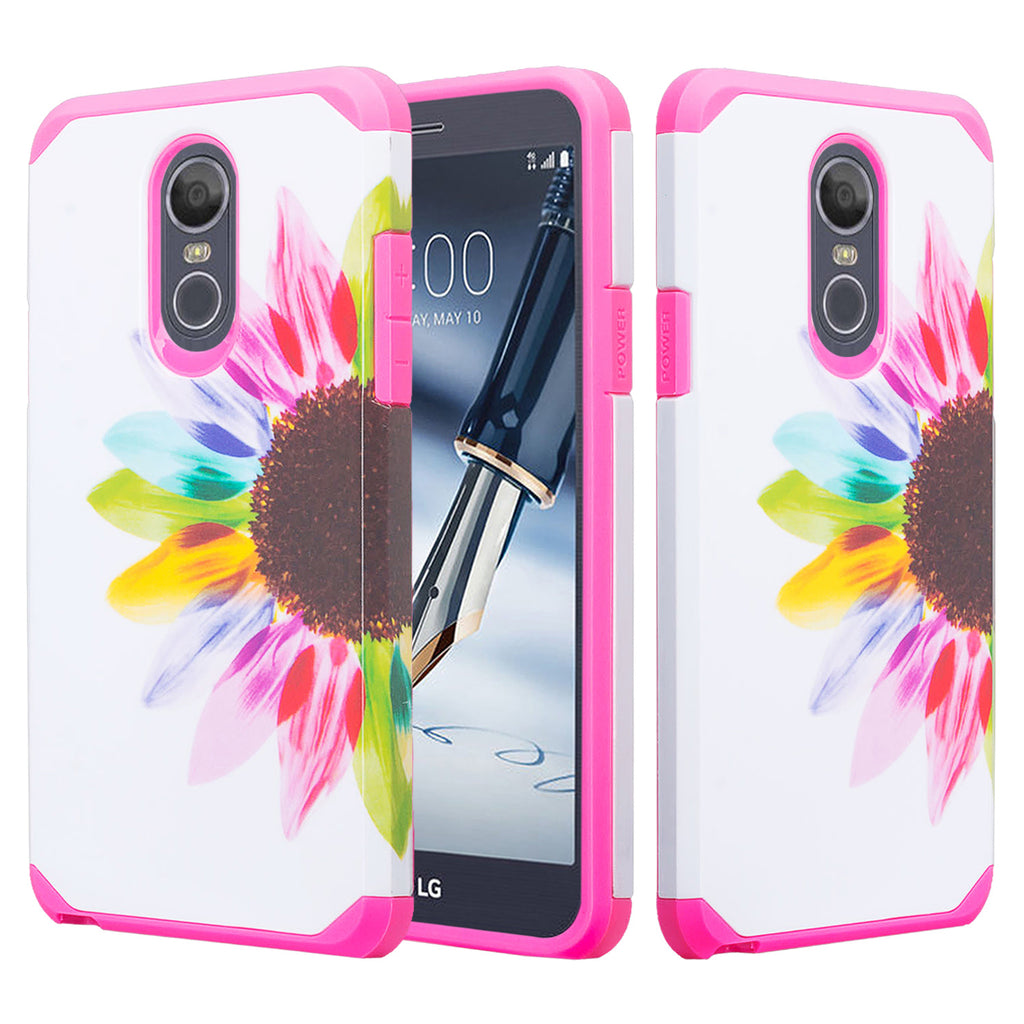 sneakers for cheap 969ce 65ce2 LG Stylo 4 Case, Stylo 4 Plus, Q Stylus Slim Hybrid Dual Layer [Shock  Resistant] Case Cover - Vivid Sunflower