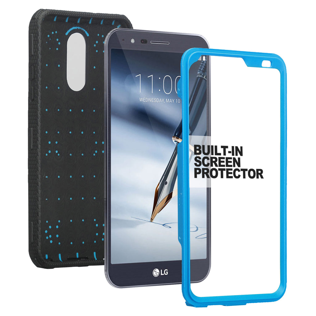 newest 97e6e 4ff79 LG Stylo 4 Case, Stylo 4 Plus, Q Stylus Triple Protection 3-1 w/ Built in  Screen Protector Heavy Duty Holster Shell Combo Case - Blue