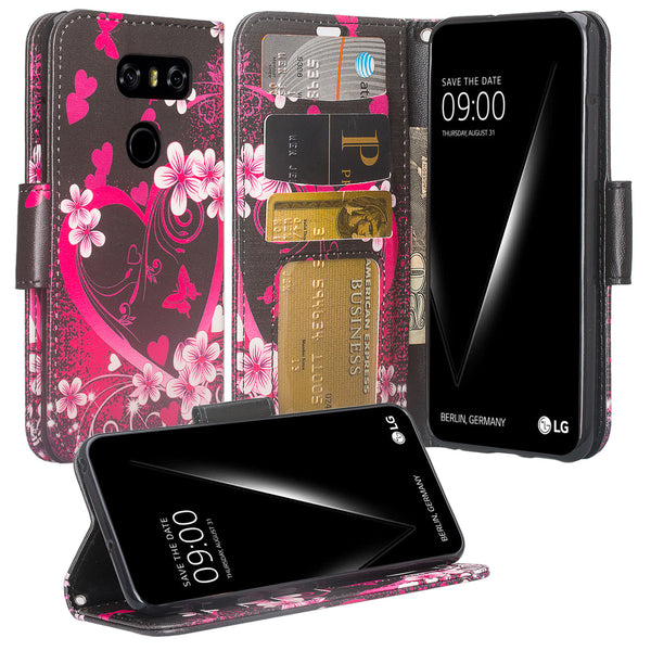 LG V30 wallet case - Heart Butterflies - www.coverlabusa.com