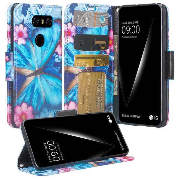 LG V30 wallet case - blue butterfly - www.coverlabusa.com