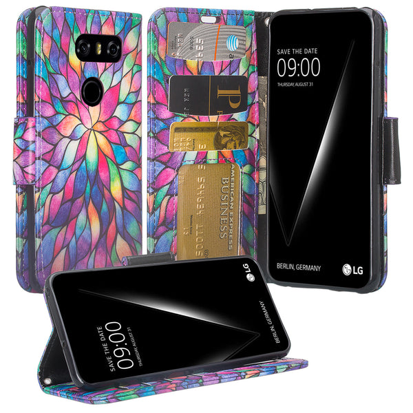 LG V30 wallet case - Rainbow Flower - www.coverlabusa.com