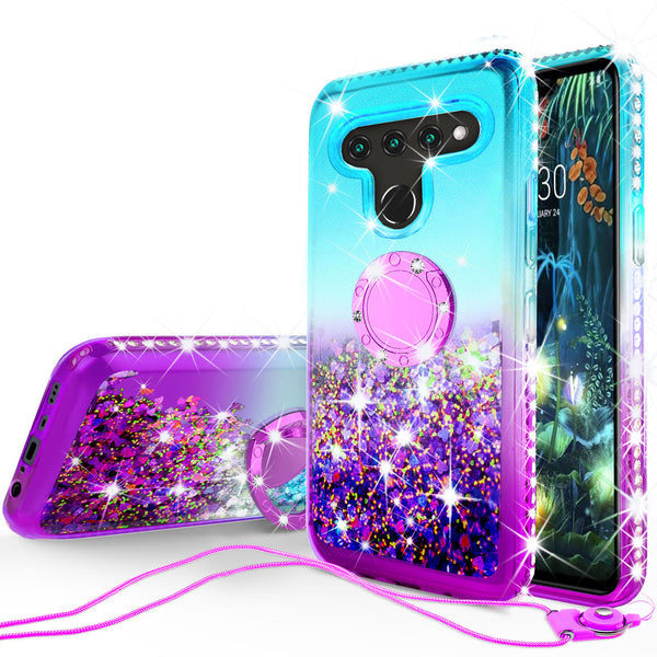 glitter ring phone case for lg v50 thinq 5g - teal gradient - www.coverlabusa.com