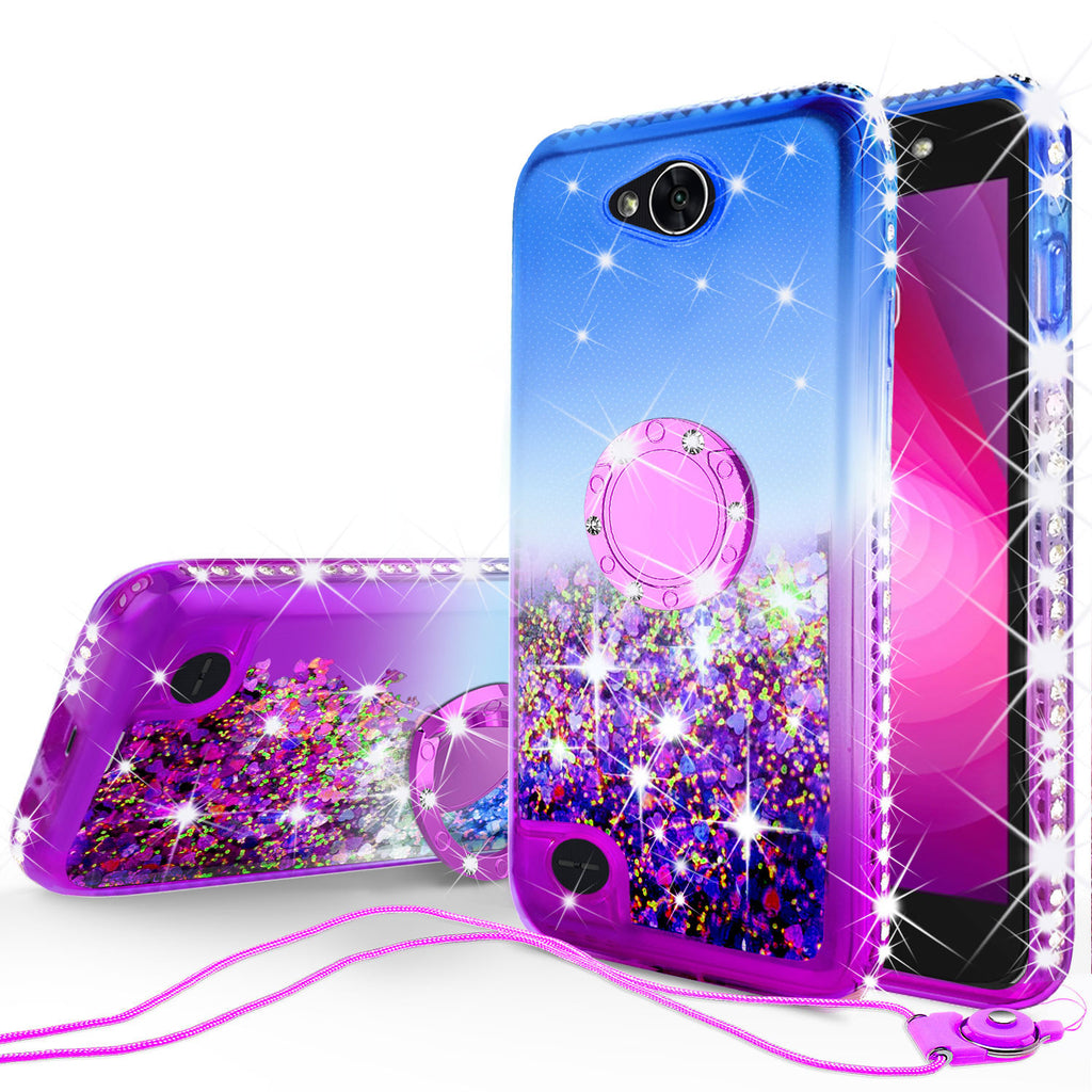newest eda40 d9f5d Glitter Phone Case Kickstand Compatible for LG X Power 2, X Charge  Case,Ring Stand Liquid Floating Quicksand Bling Sparkle Protective Girls  Women for ...