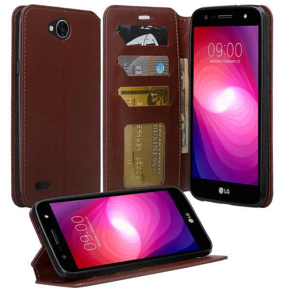 LG X power 2 Wallet Case - brown - www.coverlabusa.com