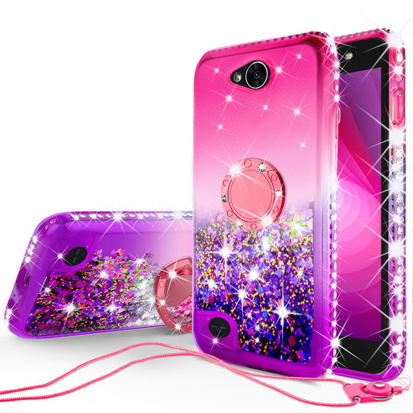 glitter ring phone case for lg x power 2 - pink gradient - www.coverlabusa.com