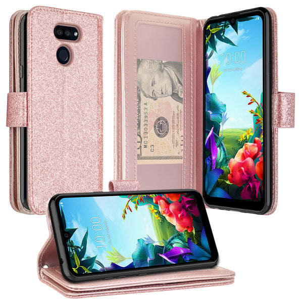 lg stylo 6 glitter wallet case - rose gold - www.coverlabusa.com