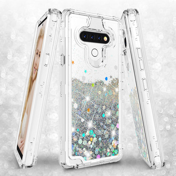 hard clear glitter phone case for lg stylo 6 - clear - www.coverlabusa.com