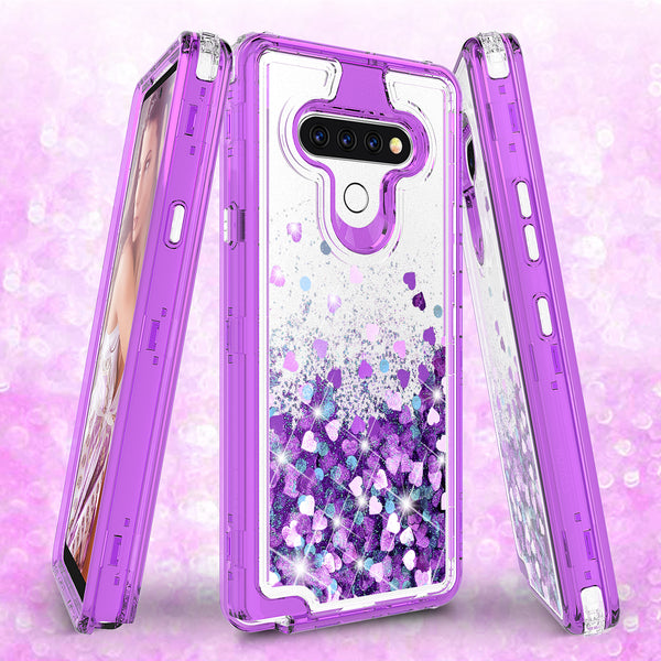 hard clear glitter phone case for lg stylo 6 - purple - www.coverlabusa.com