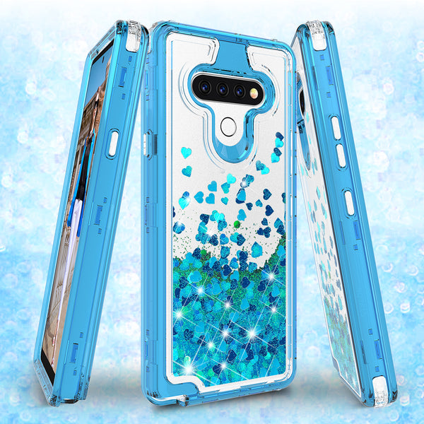 hard clear glitter phone case for lg stylo 6 - teal - www.coverlabusa.com