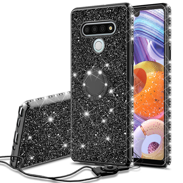 lg stylo 6 glitter bling fashion case - balck - www.coverlabusa.com