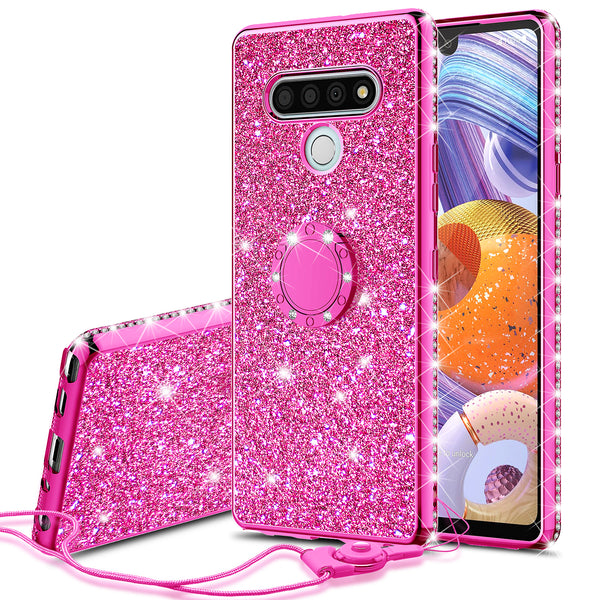 lg stylo 6 glitter bling fashion case - hot pink - www.coverlabusa.com