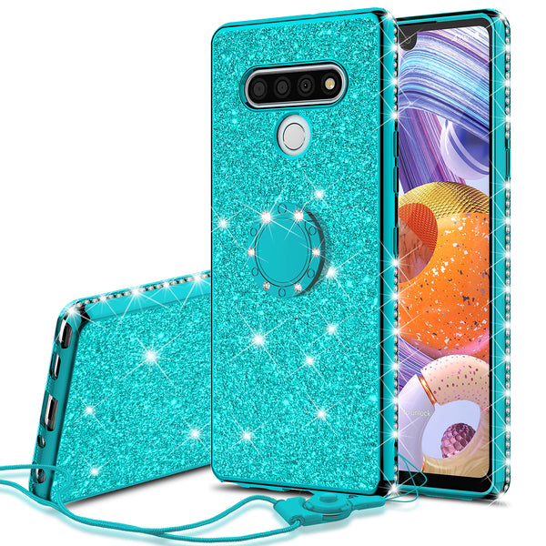 lg stylo 6 glitter bling fashion case - teal - www.coverlabusa.com